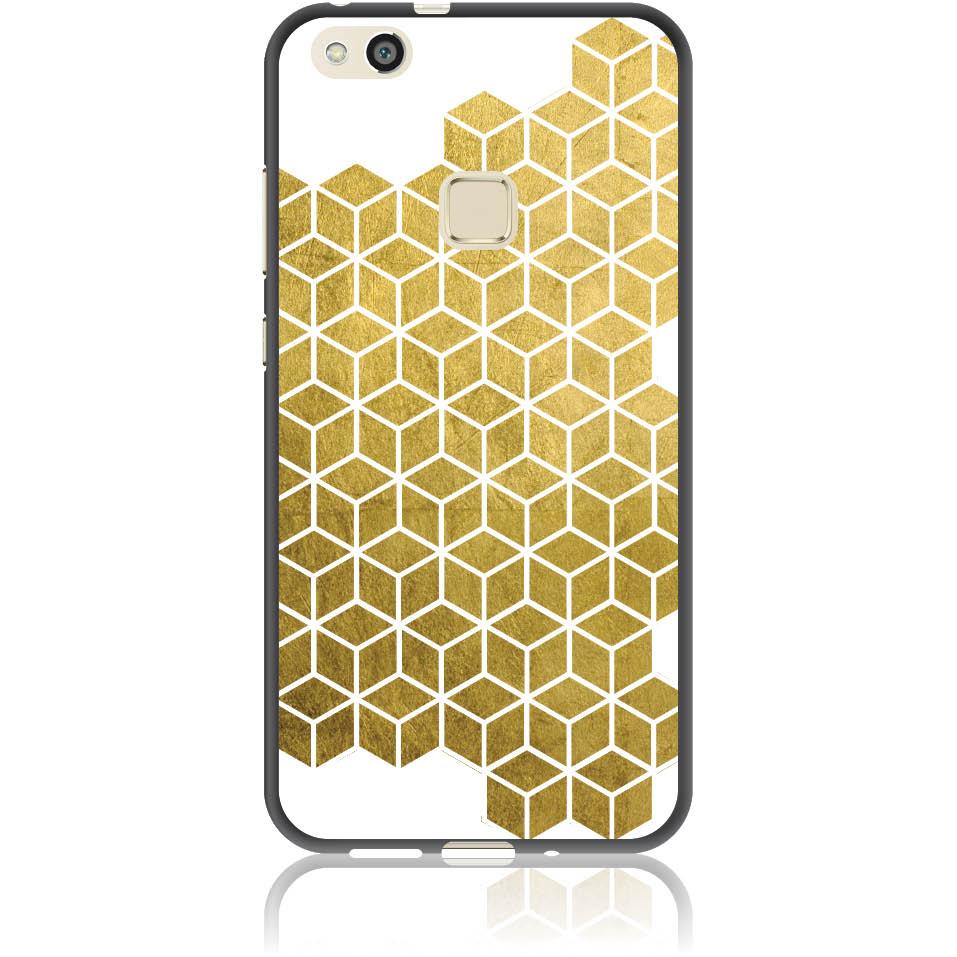 Gold Cubes Phone Case Design 50038  -  Huawei P10 Lite  -  Soft Tpu Case