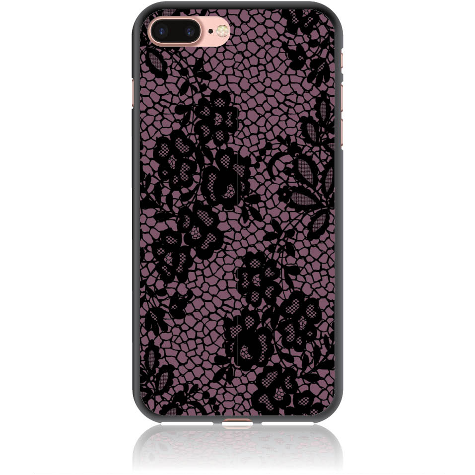 Purple Flower Pattern Phone Case Design 50182  -  Iphone 8 Plus  -  Soft Tpu Case