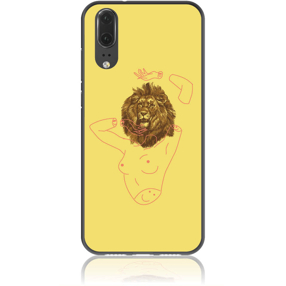 Wild And Free Yellow Lion Head Body Phone Case Design 50190  -  Huawei P20  -  Soft Tpu Case