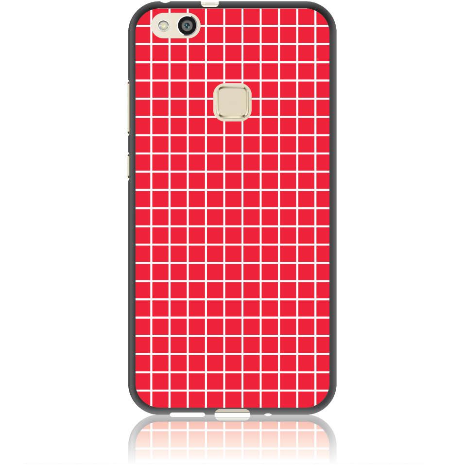 Red Checked Pattern Phone Case Design 50224  -  Huawei P10 Lite  -  Soft Tpu Case