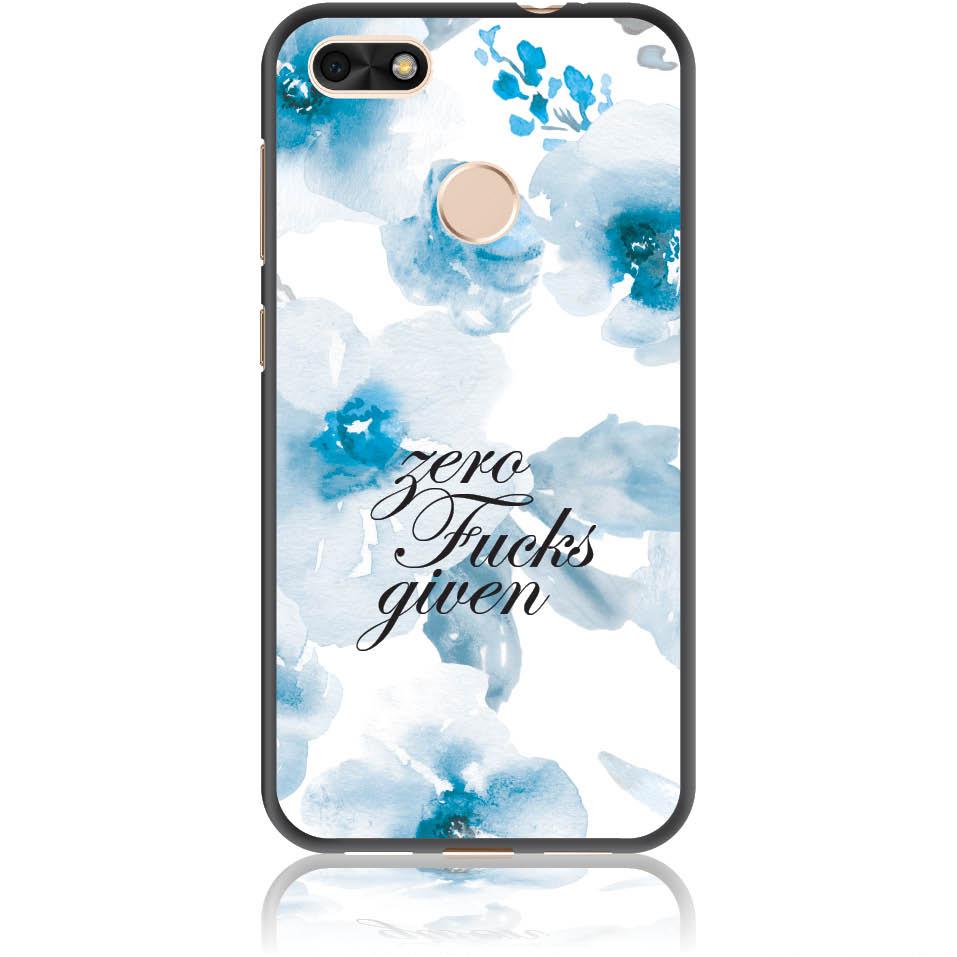 Zero Fucks Given Blue Floral Pattern Phone Case Design 50264 -p9 Lite Mini - Soft Tpu Case