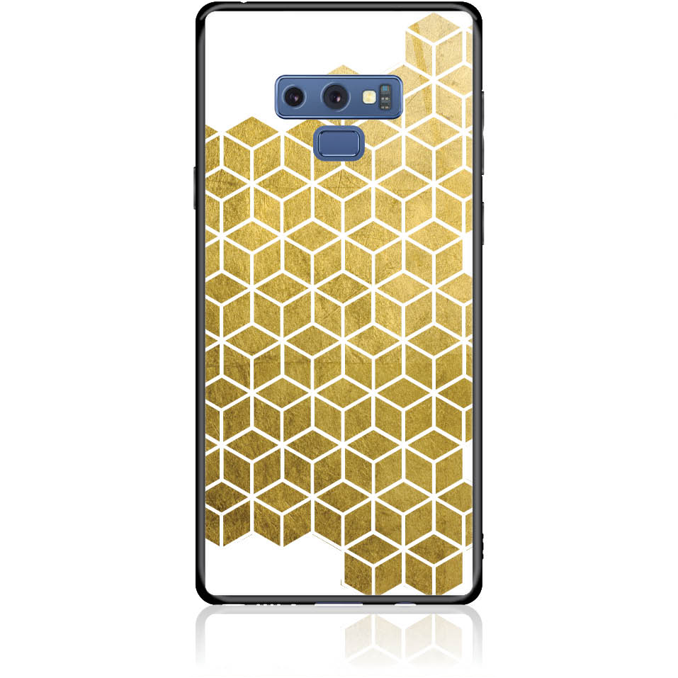 Gold Cubes Phone Case Design 50038  -  Samsung Galaxy Note 9  -  Tempered Glass Case