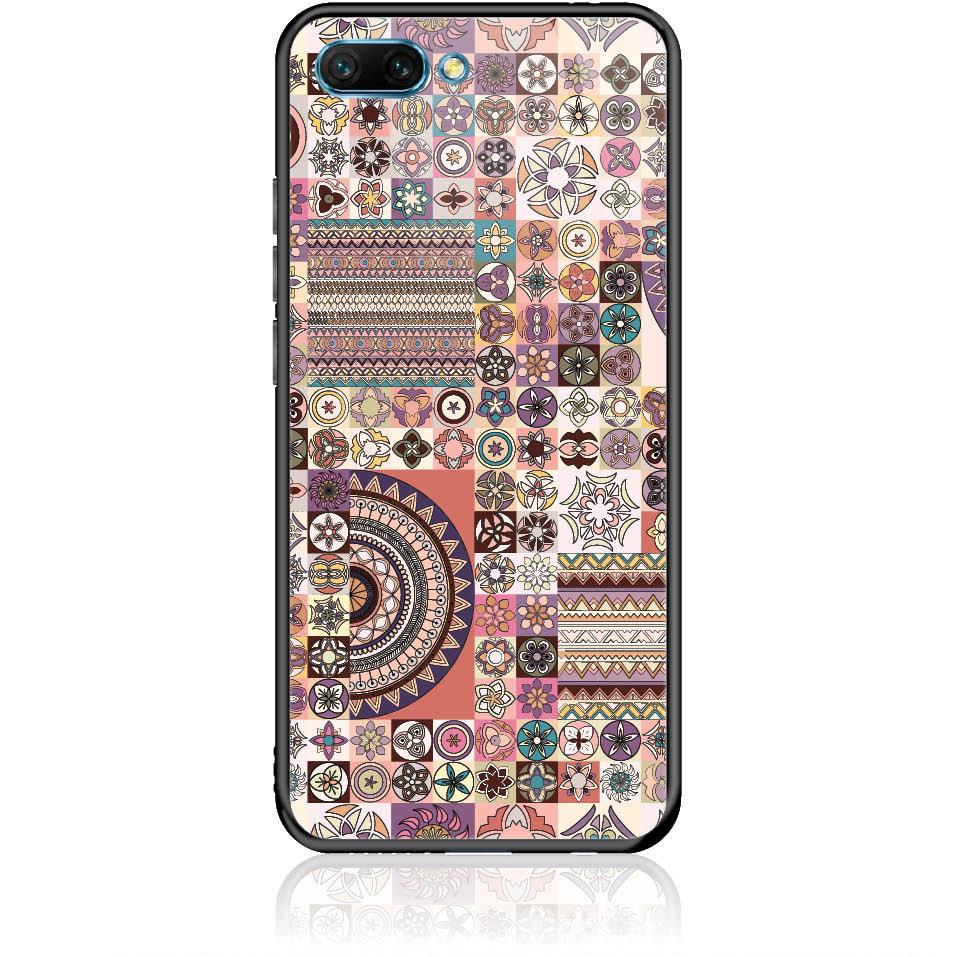Vintage Pattern Phone Case Design 50093  -  Honor 10  -  Tempered Glass Case