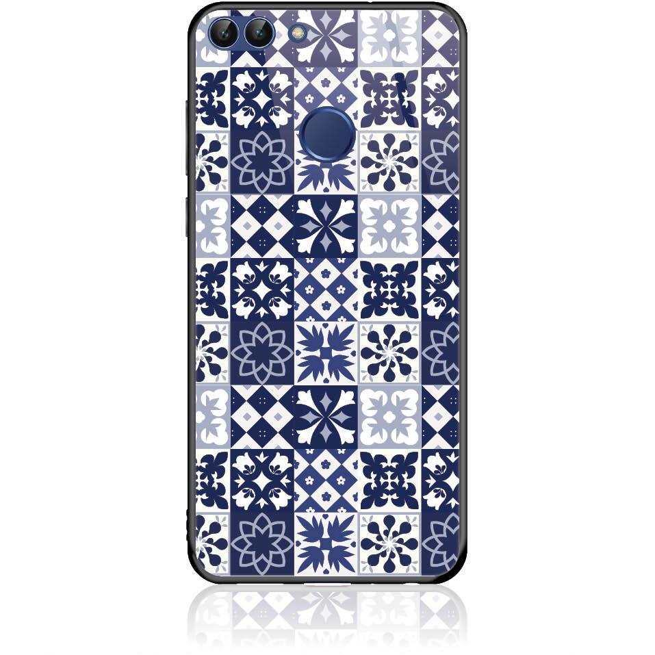 Blue Vintage Phone Case Design 50094  -  Huawei P Smart  -  Tempered Glass Case