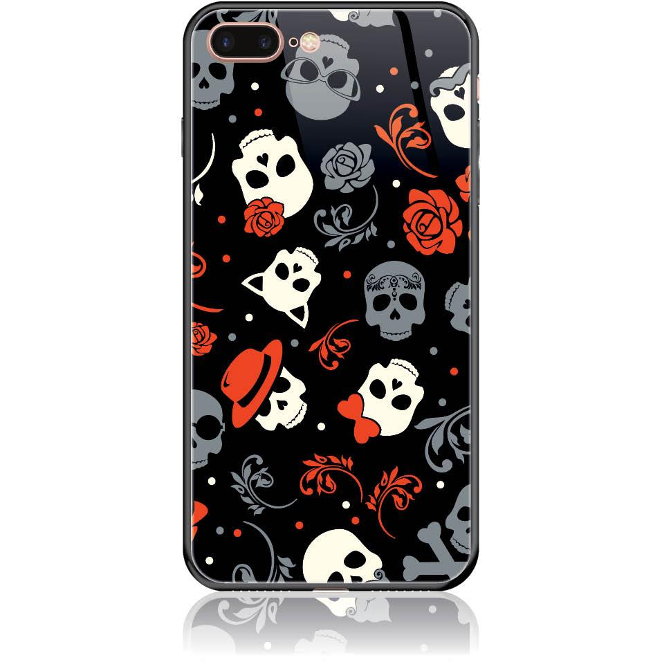 Party Skulls Phone Case Design 50141  -  Iphone 8 Plus  -  Tempered Glass Case