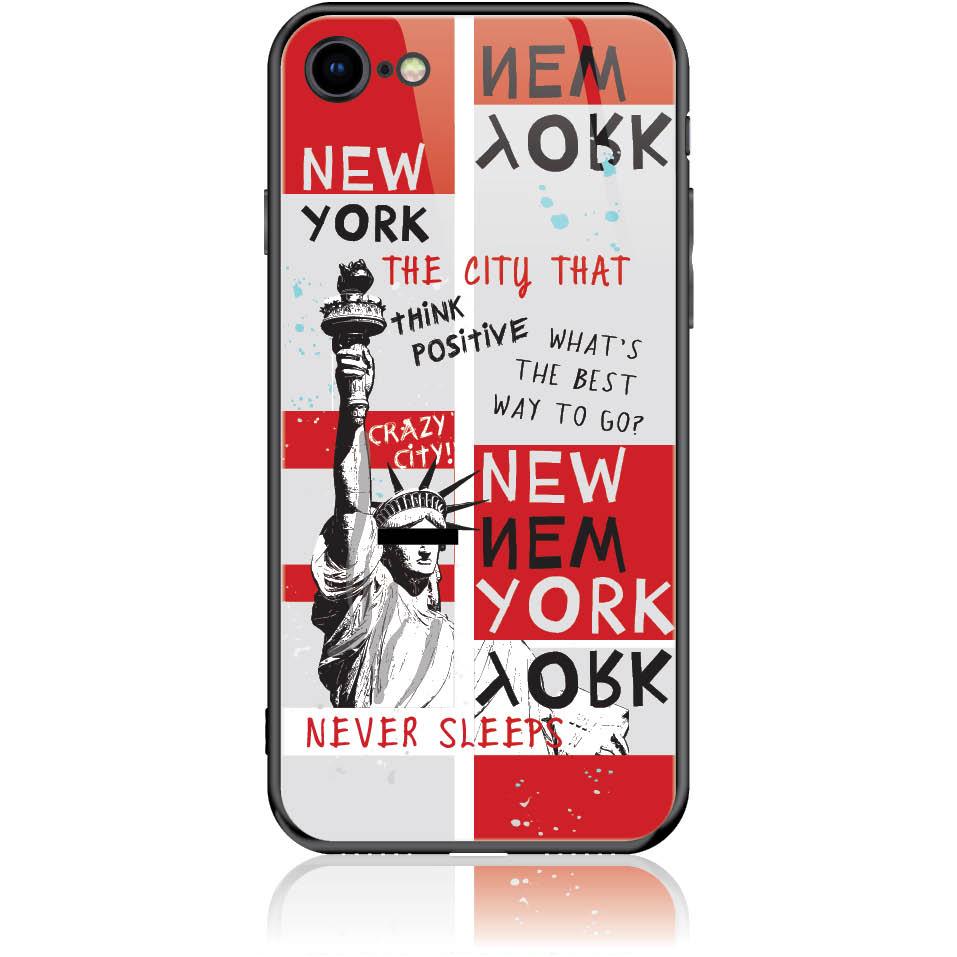 Crazy City New York Phone Case Design 50159  -  Iphone 8  -  Tempered Glass Case