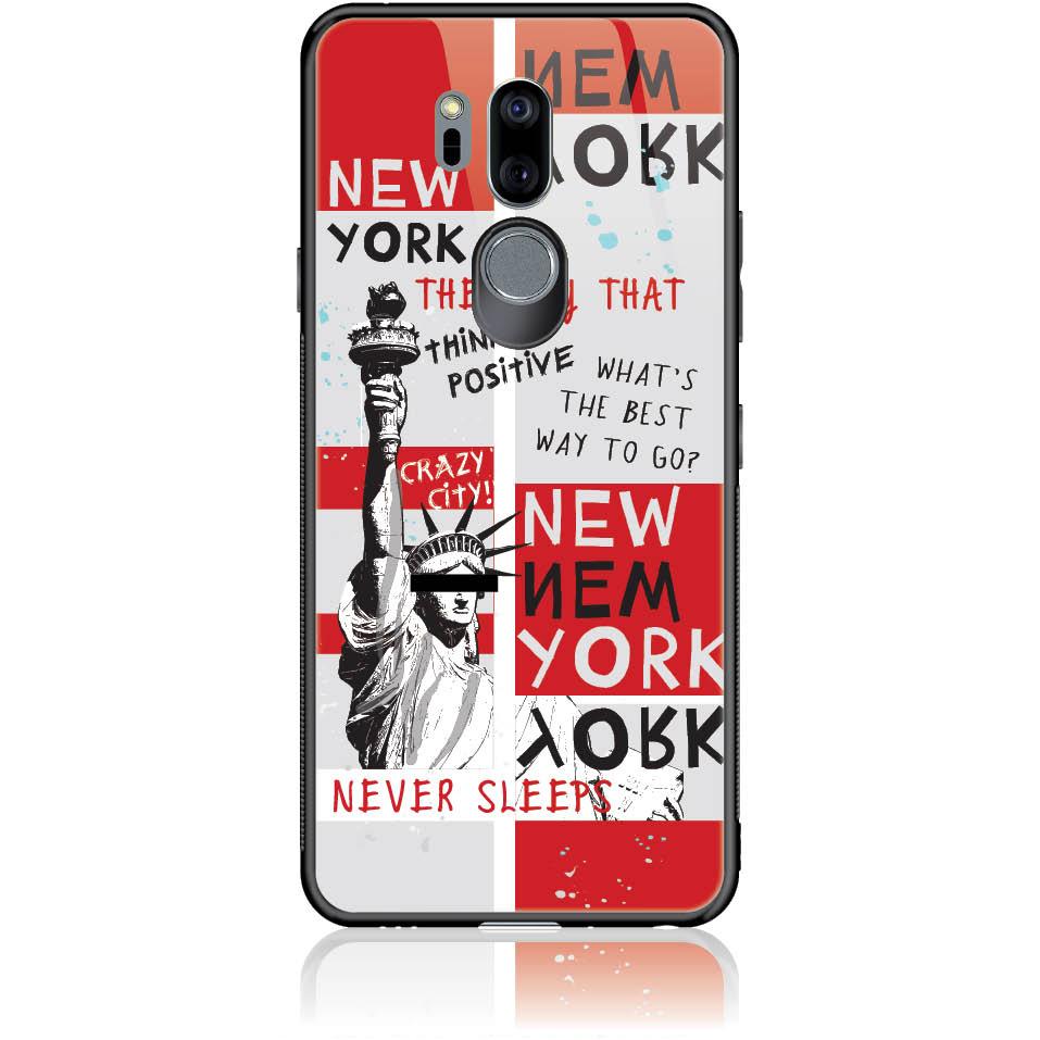 Crazy City New York Phone Case Design 50159  -  Lg G7 Thinq  -  Tempered Glass Case
