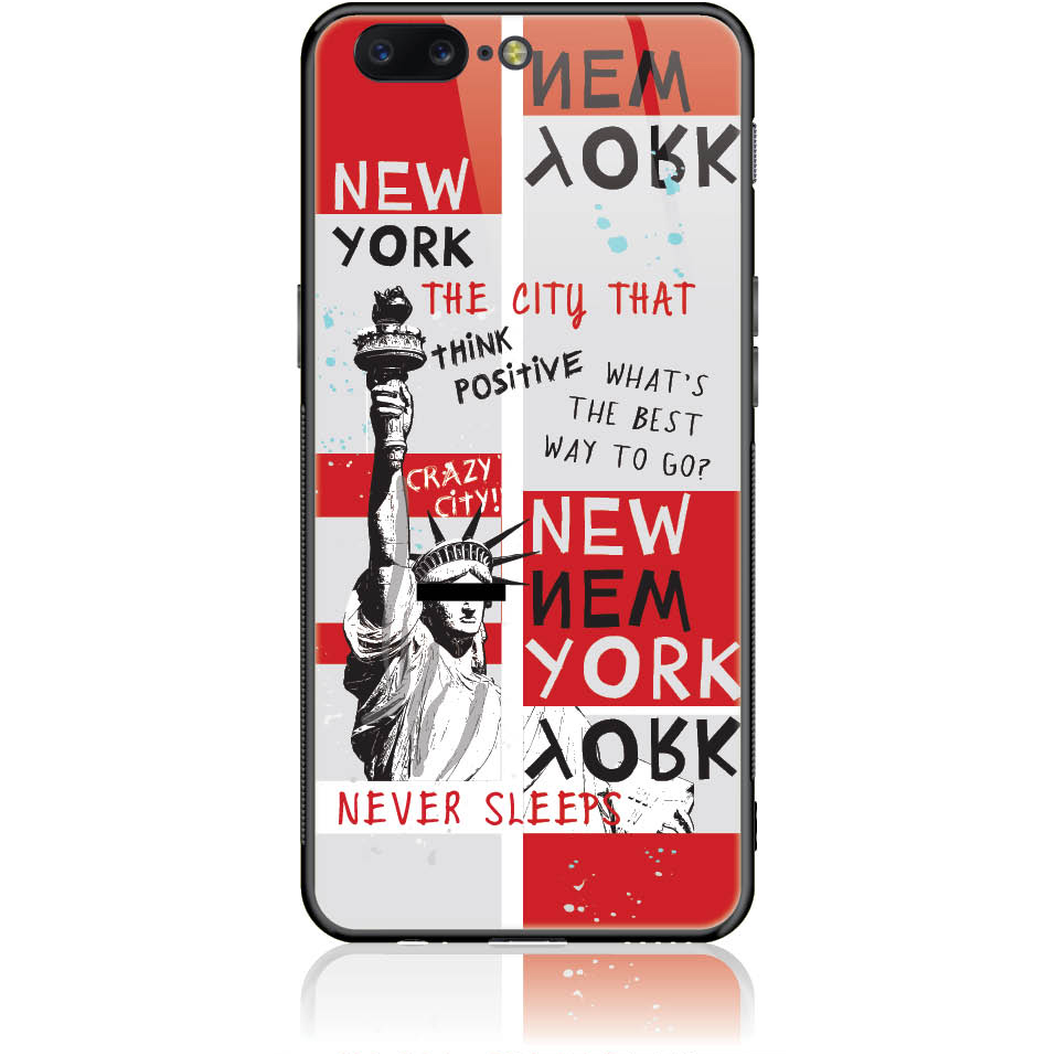 Crazy City New York Phone Case Design 50159  -  One Plus 5  -  Tempered Glass Case