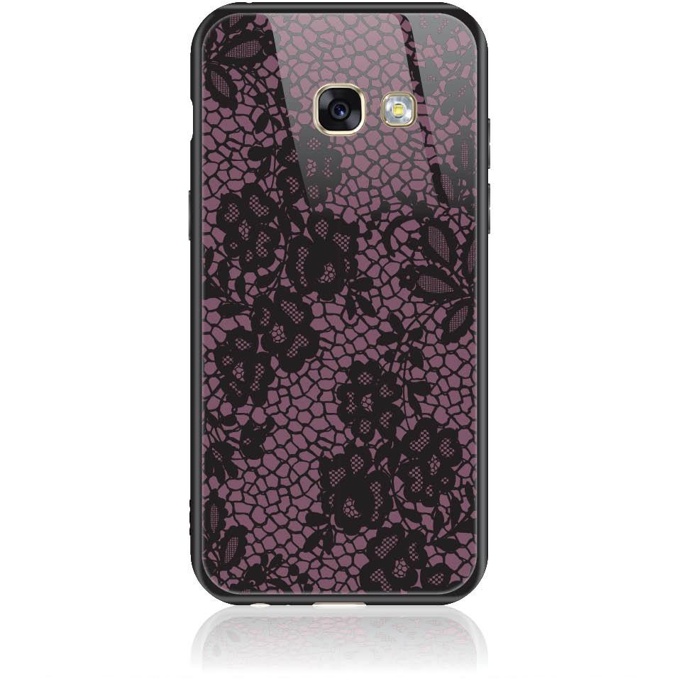 Purple Flower Pattern Phone Case Design 50182  -  Samsung Galaxy A3 (2017)  -  Tempered Glass Case
