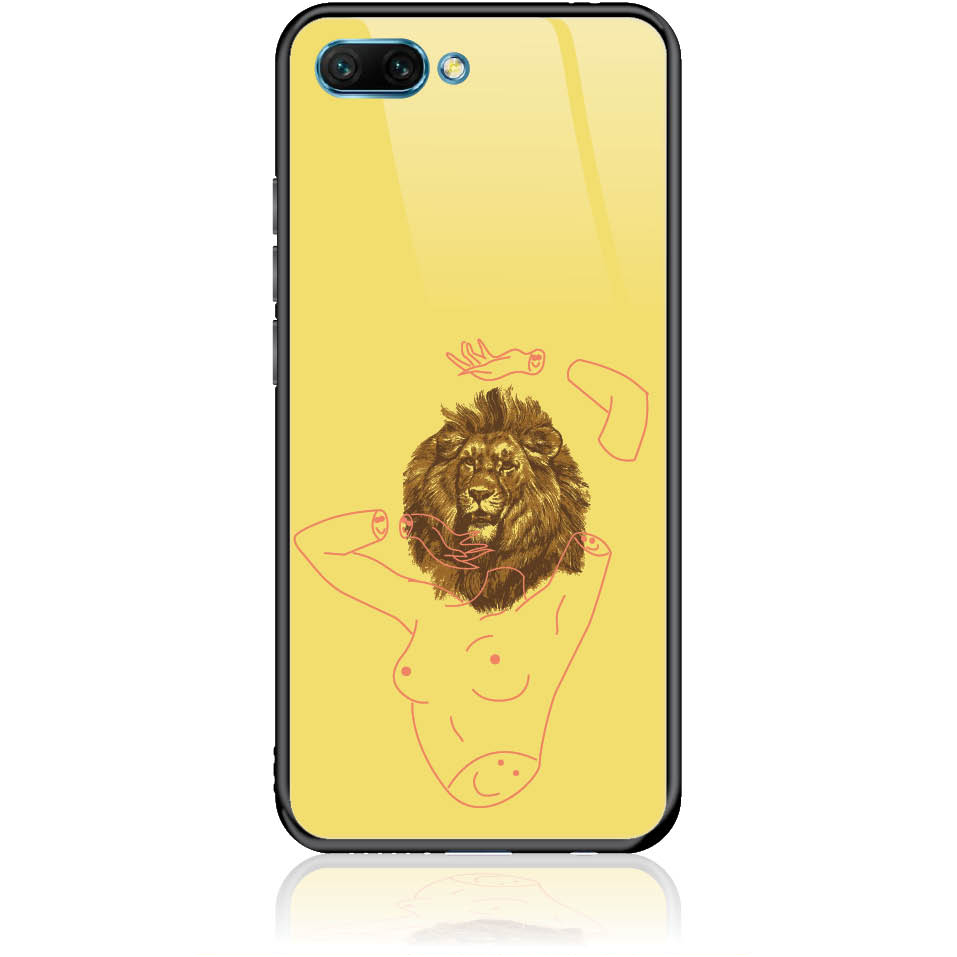 Wild And Free Yellow Lion Head Body Phone Case Design 50190  -  Honor 10  -  Tempered Glass Case