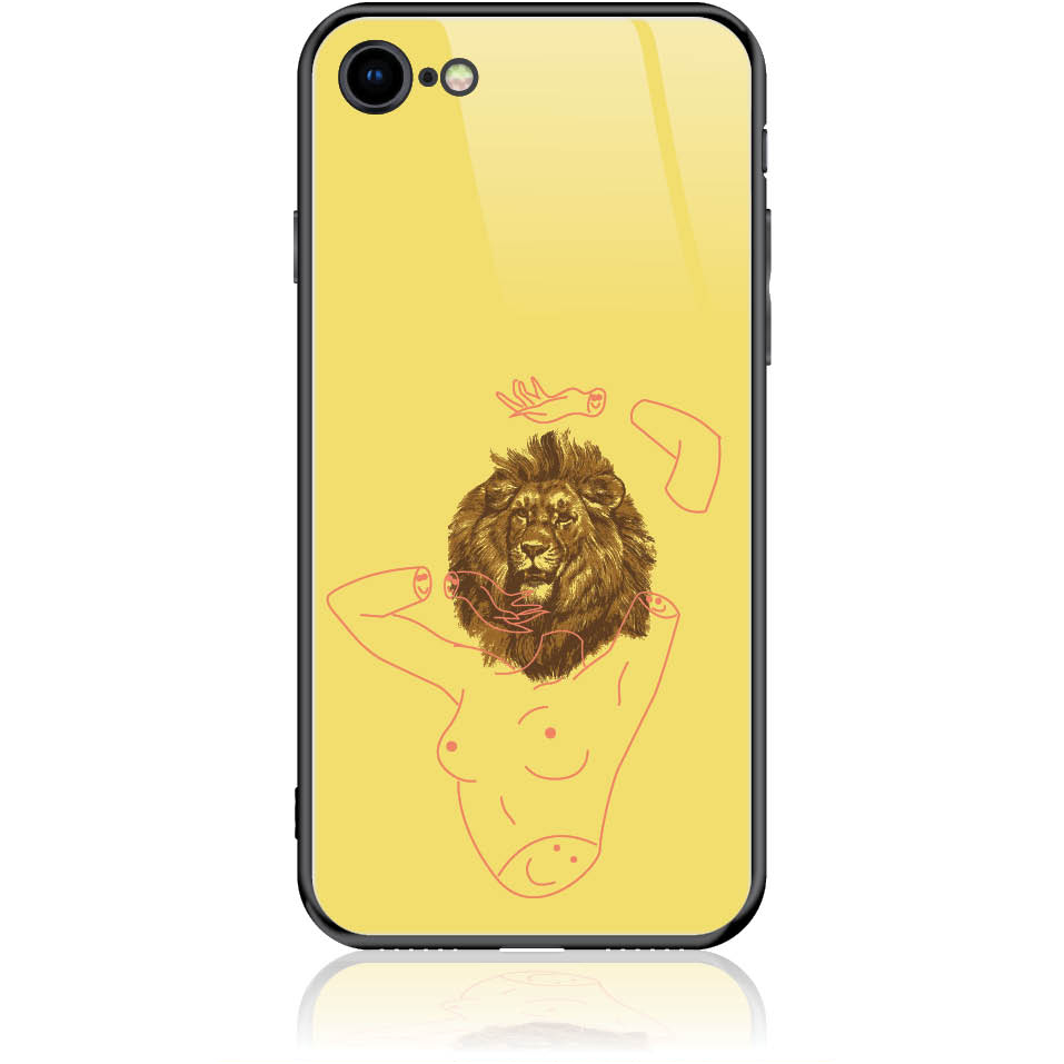 Wild And Free Yellow Lion Head Body Phone Case Design 50190  -  Iphone 8  -  Tempered Glass Case