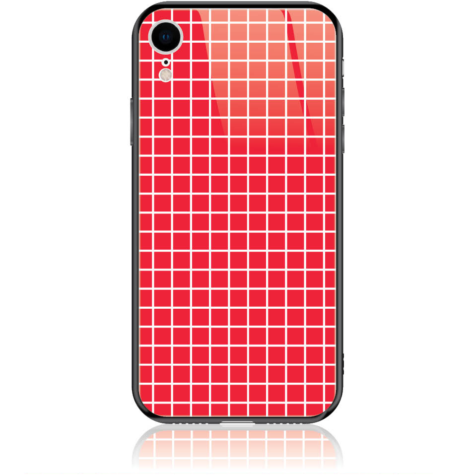 Red Checked Pattern Phone Case Design 50224  -  Iphone Xr  -  Tempered Glass Case