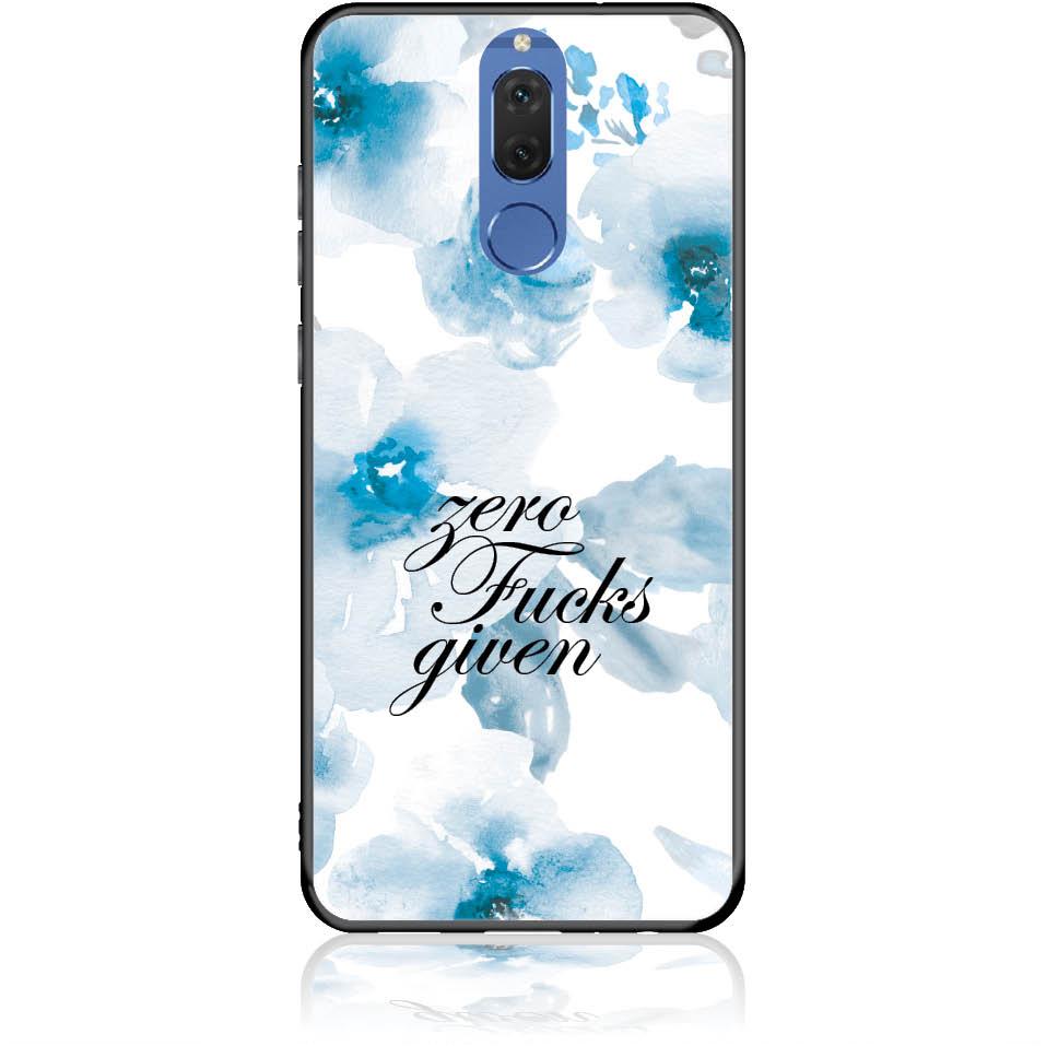 Zero Fucks Given Blue Floral Pattern Phone Case Design 50264 -nova 2i - Tempered Glass Case