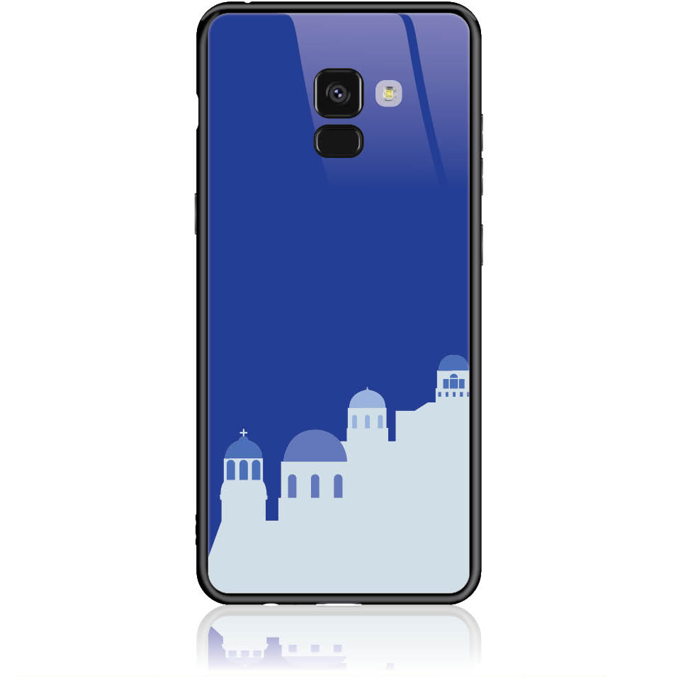 Santorini Pure Blue Phone Case Design 50294  -  Samsung Galaxy A8+ (2018)  -  Tempered Glass Case