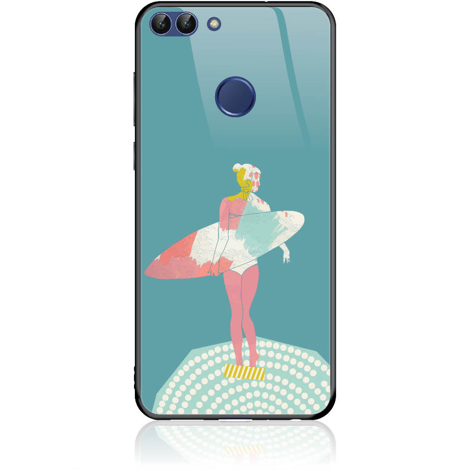 Surf Girl Phone Case Design 50306  -  Huawei P Smart  -  Tempered Glass Case