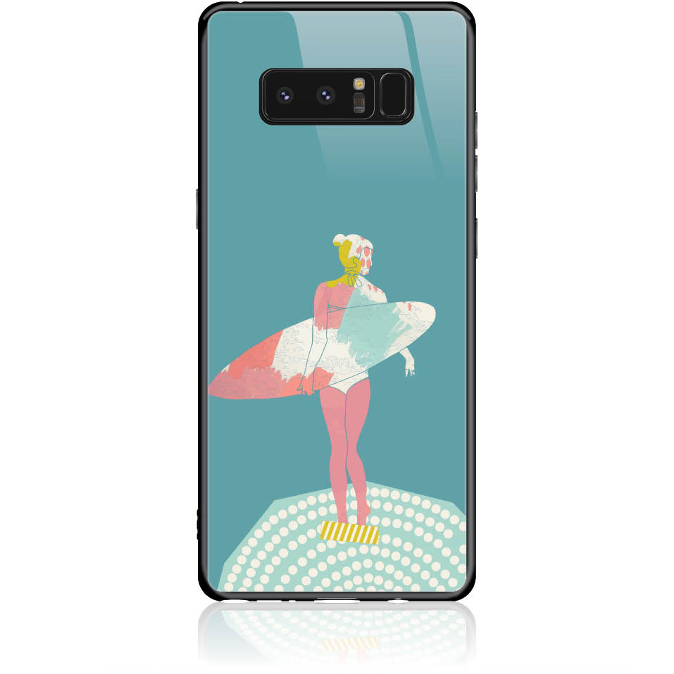 Surf Girl Phone Case Design 50306  -  Samsung Galaxy Note 8  -  Tempered Glass Case