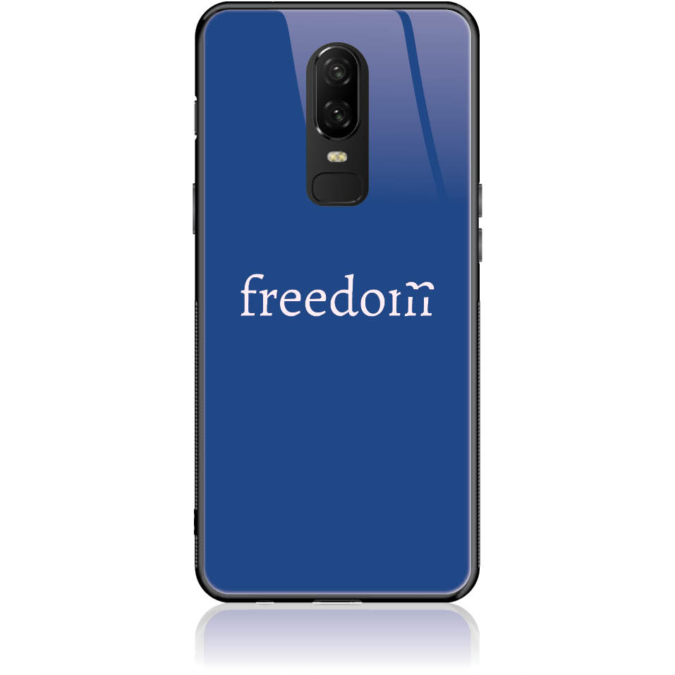 Freedom Blue Phone Case Design 50307  -  One Plus 6  -  Tempered Glass Case