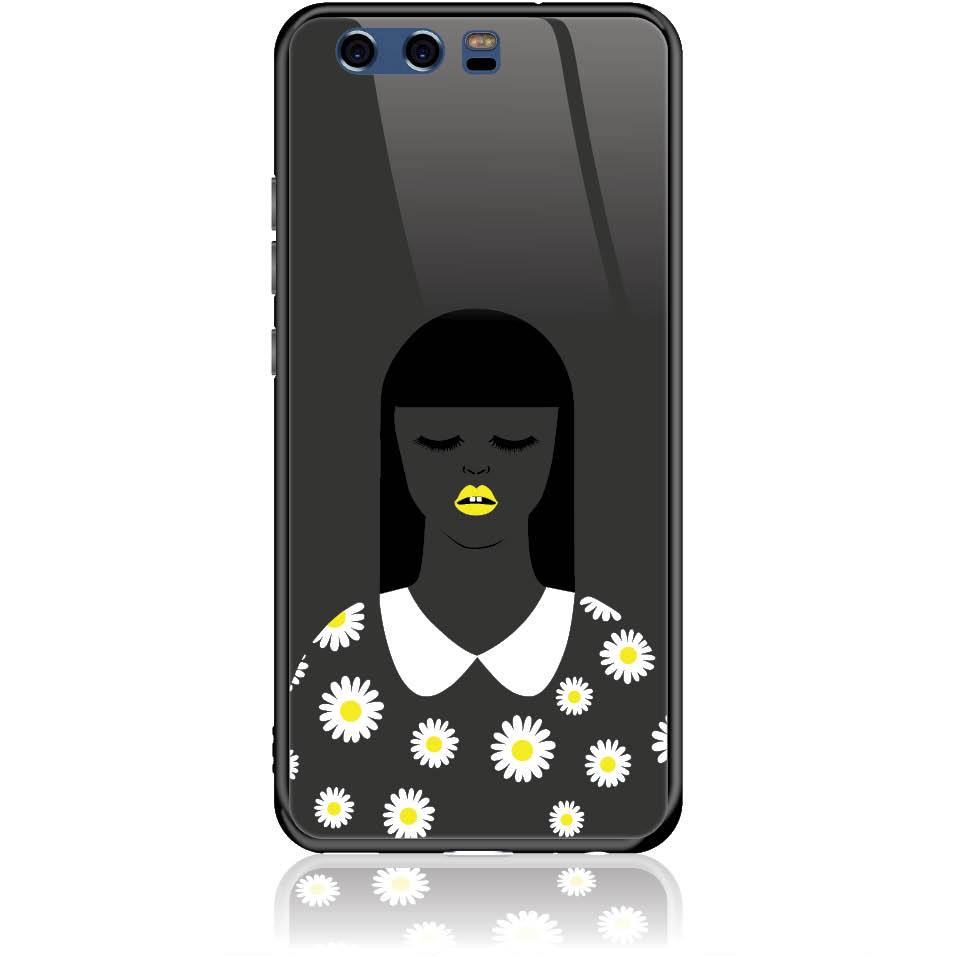 African Beauty Daisy Girl Phone Case Design 50327  -  Huawei P10  -  Tempered Glass Case
