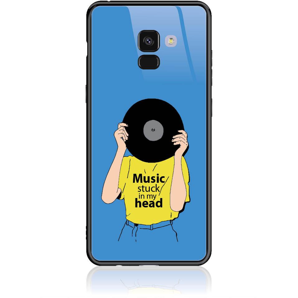 Music Stuck In My Head Phone Case Design 50339 - Galaxy A8+ - Tempered Glass Case
