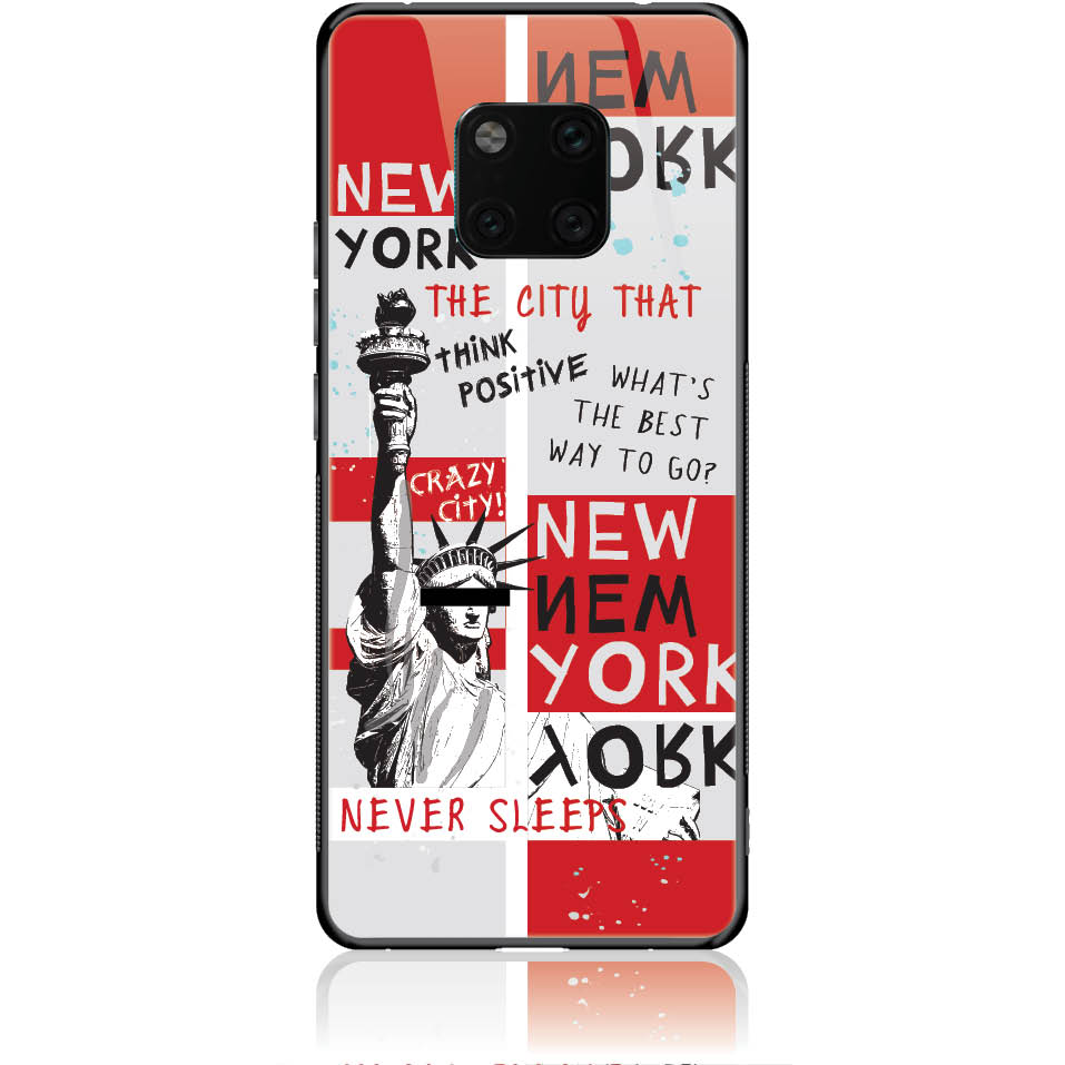 Crazy City New York Phone Case Design 50159  -  Huawei Mate 20 Pro  -  Tempered Glass Case