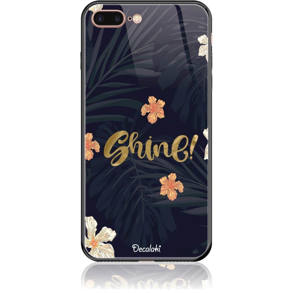 Shine On Dark Floral Phone Case Design 50393  -  Iphone 8 Plus  -  Tempered Glass Case
