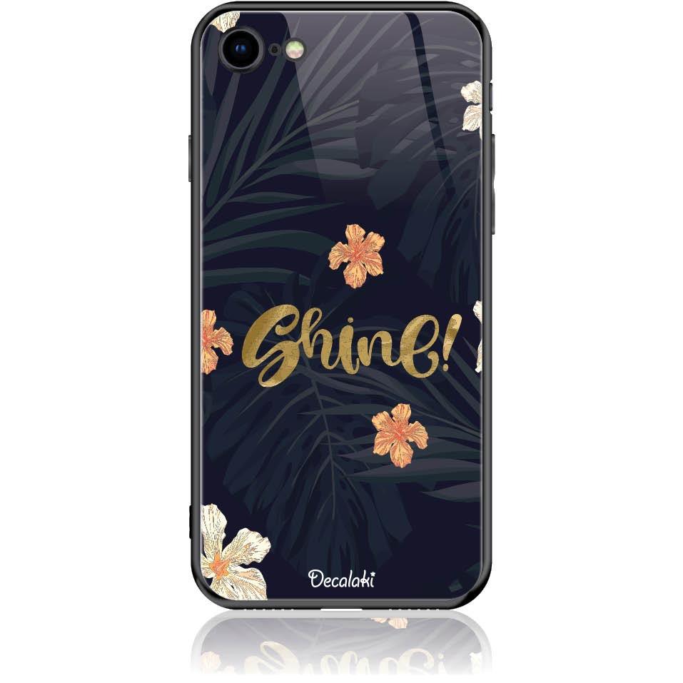 Shine On Dark Floral Phone Case Design 50393  -  Iphone 7  -  Tempered Glass Case