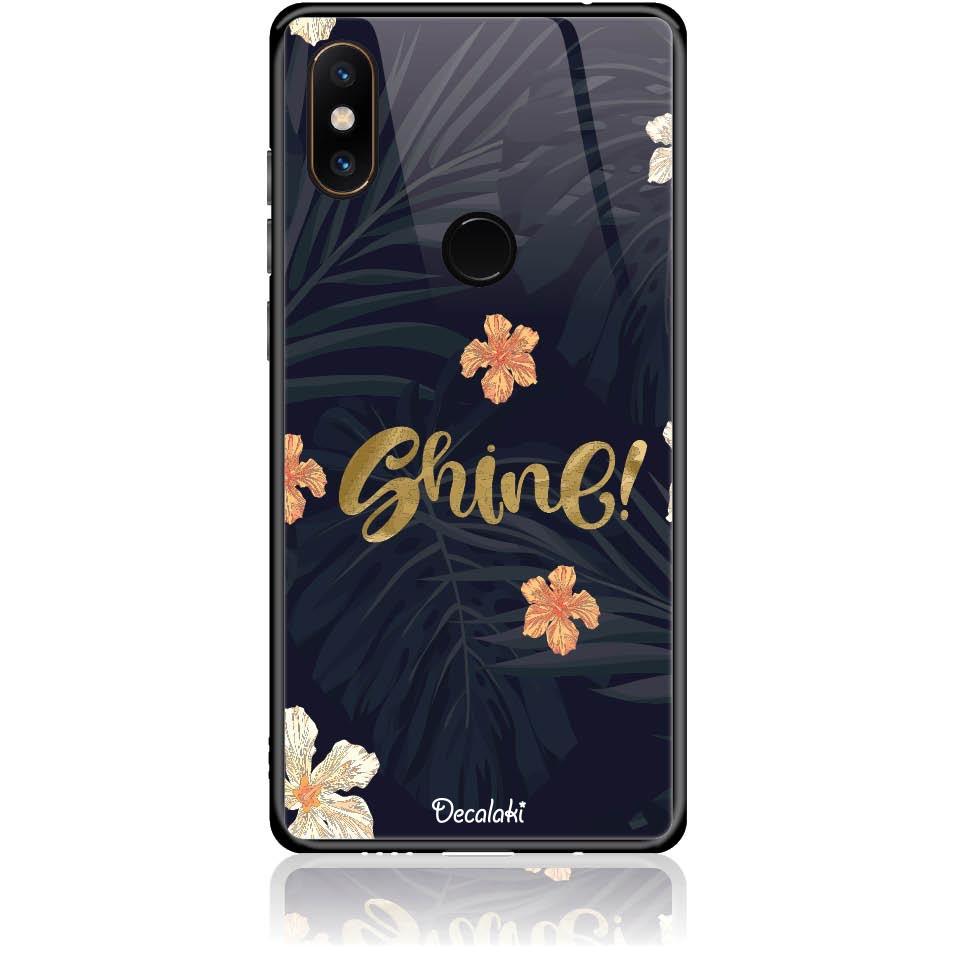 Shine On Dark Floral Phone Case Design 50393  -  Xiaomi Mi Mix 2s  -  Tempered Glass Case