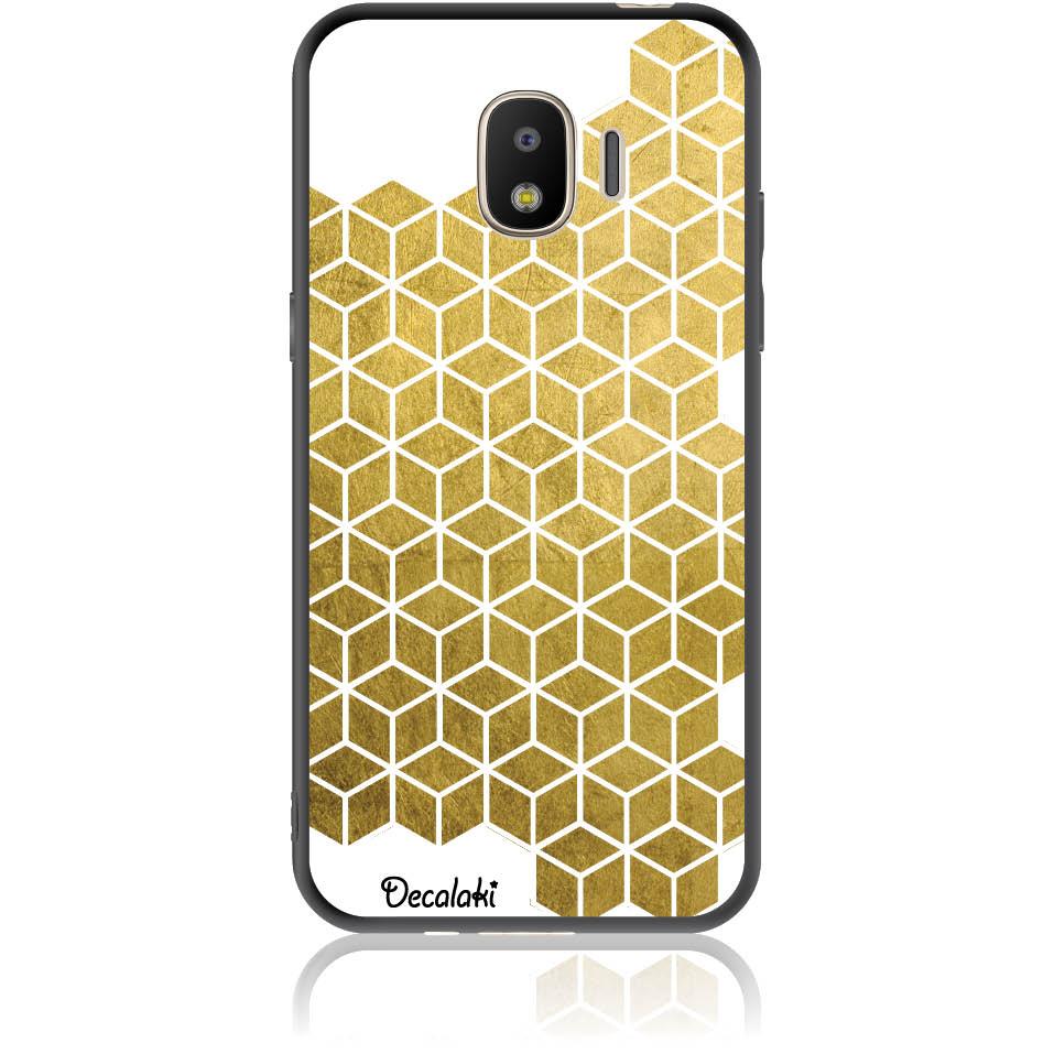 Gold Cubes Phone Case Design 50038  -  Samsung J2 Pro (2018)  -  Soft Tpu Case