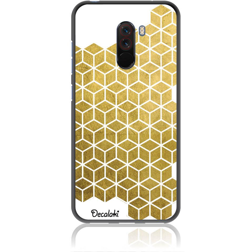 Gold Cubes Phone Case Design 50038  -  Xiaomi Pocophone F1  -  Soft Tpu Case