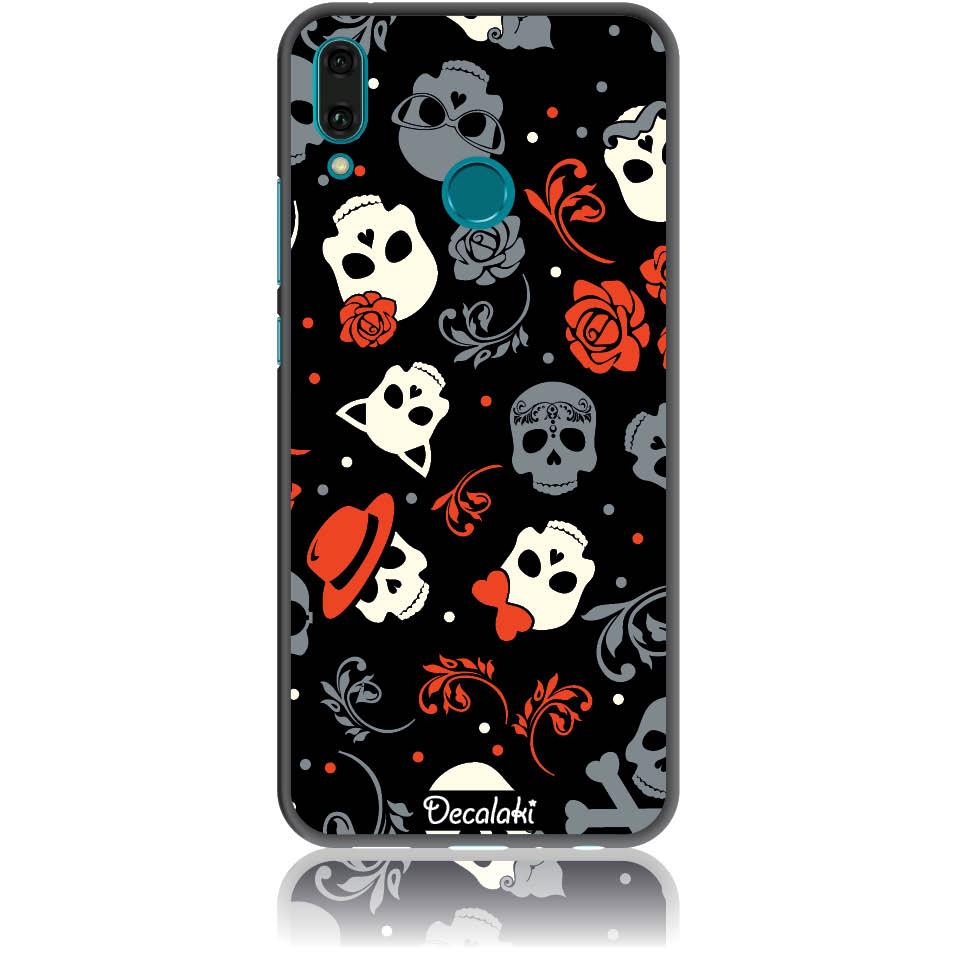 Party Skulls Phone Case Design 50141  -  Huawei Enjoy 9 Plus  -  Soft Tpu Case