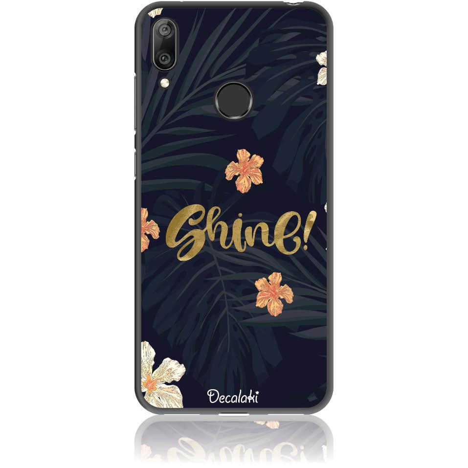 Shine On Dark Floral Phone Case Design 50393  -  Huawei Y7 Prime 2019  -  Soft Tpu Case