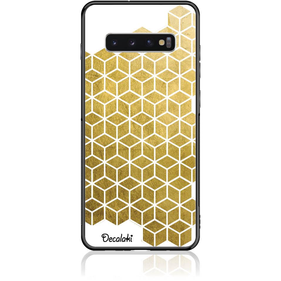 Gold Cubes Phone Case Design 50038  -  Samsung S10 Plus  -  Tempered Glass Case
