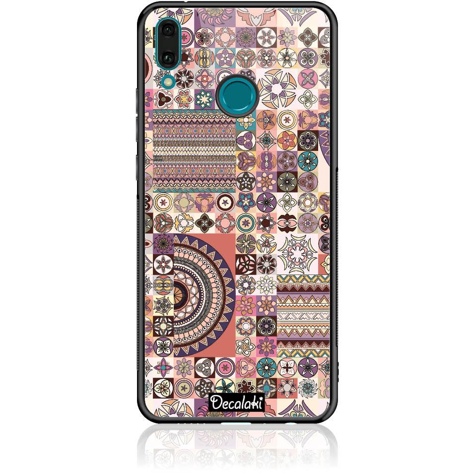 Vintage Pattern Phone Case Design 50093  -  Huawei Y9 2019  -  Tempered Glass Case