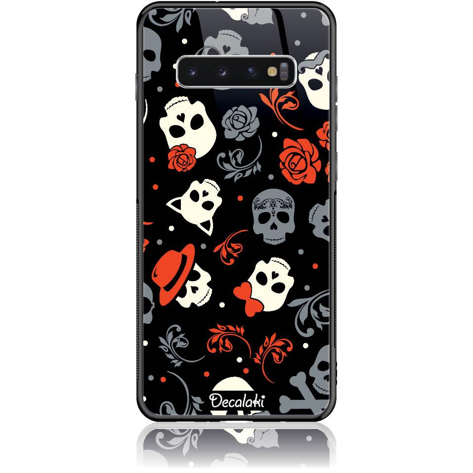 Party Skulls Phone Case Design 50141  -  Samsung S10 Plus  -  Tempered Glass Case
