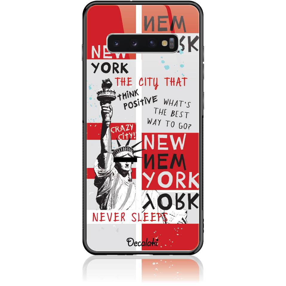 Crazy City New York Phone Case Design 50159  -  Samsung S10 Plus  -  Tempered Glass Case