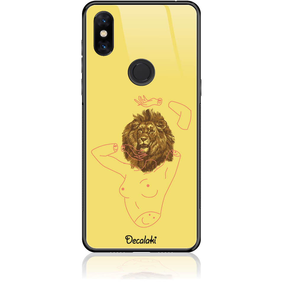 Wild And Free Yellow Lion Head Body Phone Case Design 50190 - Mi Mix 3 - Tempered Glass Case