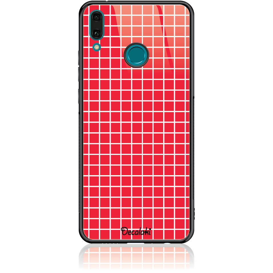 Red Checked Pattern Phone Case Design 50224  -  Huawei Enjoy 9 Plus  -  Tempered Glass Case