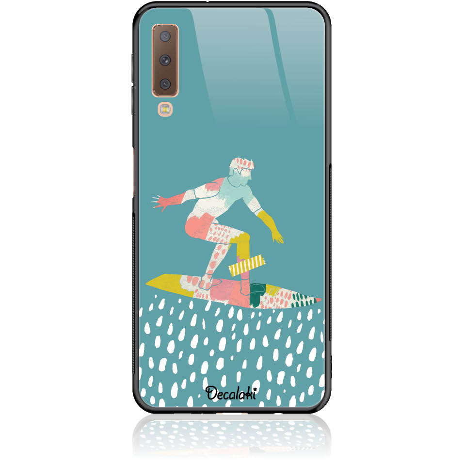 Surf Boy Phone Case Design 50305  -  Samsung A7 2018 (a750)  -  Tempered Glass Case