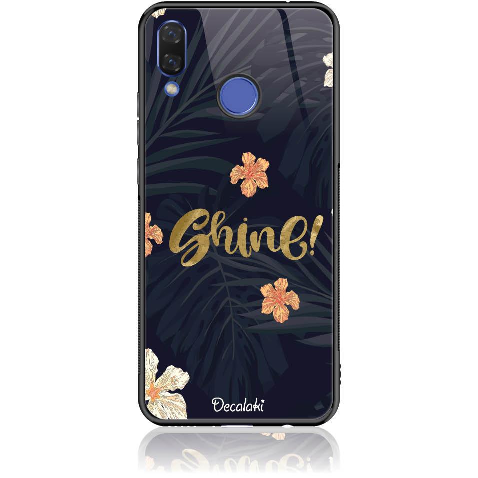 Shine On Dark Floral Phone Case Design 50393  -  Huawei Nova 3  -  Tempered Glass Case