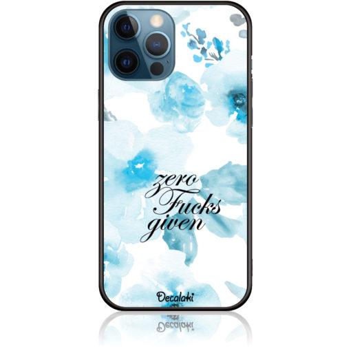 Zero Fucks Given Blue Floral Pattern Phone Case Design 50264